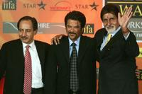 Sanjeev Aga, Anil Kapoor and Amitabh Bachchan at the press conference in Gurgaon.