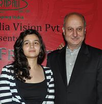 Aliya Bhatt and Anupam Kher at the launch of