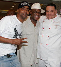 Miguel Nunez, Michael Colyar and chef Jude T. Moutona at the BET Awards in California.