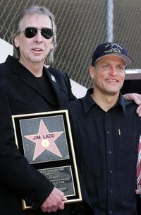Jim Ladd and Woody Harrelson at the Hollywood Walk of Fame.