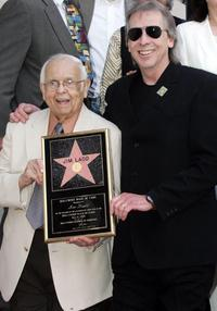 Johnny Grant and Jim Ladd at the Hollywood Walk of Fame.