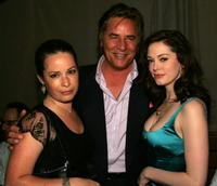 Holly Marie Combs, Don Johnson and Rose McGowan at the WB Network stars party.