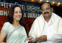 Hema Malini and Venkaiah Naidu at the function at BJP headquarters in New Delhi.