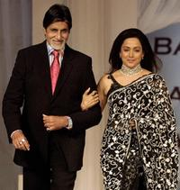 Amitabh Bachchan and Hema Malini at the music launch of