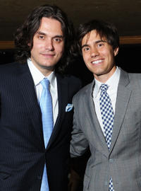 John Mayer and co-founder of CollegeHumor Ricky Van Veen at the 15th Annual Webby Awards in New York.