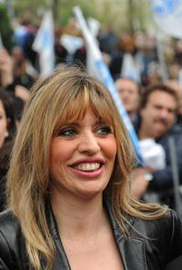Alessandra Mussolini at the final campaign rally with Italy's conservative leader Silvio Berlusconi.