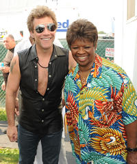 Rock Legend Jon Bon Jovi and Irma Thomas at the Day 2 of 2011 New Orleans Jazz & Heritage Festival in New Orleans.