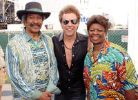 Singers & Songwriters Allen Toussaint, Rock Legend Jon Bon Jovi and Irma Thomas at the Day 2 of 2011 New Orleans Jazz & Heritage Festival in New Orleans.