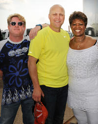N.O. Jazz Festival Producer/Director Quint Davis, New Orleans Mayor Mitch Landrieu and Irma Thomas at the Day 2 of 2011 New Orleans Jazz & Heritage Festival in New Orleans.