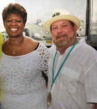 Irma Thomas and Grammy Director Ken Ehrlich at the Day 2 of 2011 New Orleans Jazz & Heritage Festival in New Orleans.