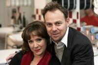 Harriet Thorpe and Jason Donovan at the launch the national tour of Stephen Sondheims musical Sweeney Todd.