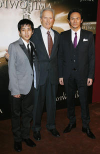 Kazunari Ninomiya, director Clint Eastwood and Tsuyoshi Ihara at the France premiere of