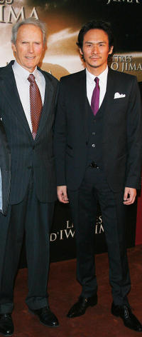 Director Clint Eastwood and Tsuyoshi Ihara at the France premiere of
