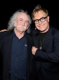 David Crosby and Elton John at the Musicares Person of the Year Dinner honoring Neil Young.