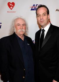 David Crosby and Paul Caine at the Musicares Person of the Year Dinner honoring Neil Young.