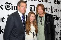 Brian Williams, Miley Cyrus and Billy Ray Cyrus at the 6th Annual New York Times Arts & Leisure Weekend.