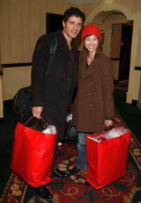 Pascal Elbe and Linh-Dan Pham at the Espace Glamour Chic gift lounge.