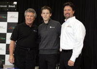 Mario Andretti, Marco Andretti and Michael Andretti at the news conference to introduce the Andretti Green Racing lineup for the 2006 IRL season.