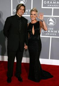 Carey Hart and Pink at the 49th Annual Grammy Awards.
