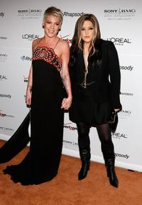 Pink and Lisa Marie Presley at the Clive Davis pre-Grammy party.