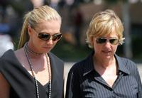Ellen DeGeneres and Portia DiRossi at the Merv Griffin's Funeral Ceremony.