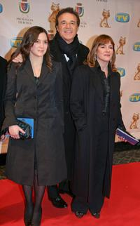Christian De Sica, his wife Silvia Verdone and daughter at the Italian TV awards show Telegatti.