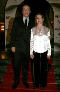 Christian De Sica and his wife Silvia Verdone at the Italian Movie Awards.