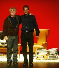 Pedro Almodovar and Paul Auster at the Jovellanos theatre in northern Spanish city of Gijon.