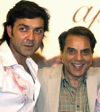 Bobby Deol and Dharmendra at the promotion of
