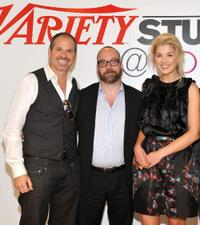 Richard J. Lewis, Paul Giamatti and Rosamund Pike at the Variety Studio during the 35th Toronto International Film Festival.