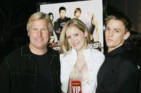 Producer Steve Austin, Alana Austin and Aaron Carter at the premiere of