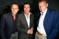 Charles Berling, Bernard Montiel and Patrick Poivre d'Arvor at the Cerruti Fashion Show.