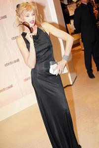 Arielle Dombasle at the cocktail party celebrating the opening of the Roberto Cavalli flagship store.
