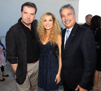 Brendan Coyle, Joanne Froggatt and Tom Karlo at the cocktail party of