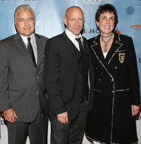 President of sales and marketing for ION Television Steve Appel, Hugh Dillon and EVP of programming for ION Television Leslie Chesloff at the New York premiere of