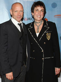 Hugh Dillon and EVP of programming for ION Television Leslie Chesloff at the New York premiere of