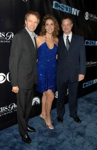Jerry Bruckheimer, Melina Kanakaredes and Gary Sinise at the CSI: NY 100th episode celebration.