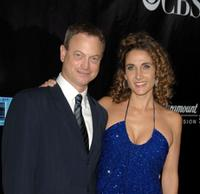 Gary Sinise and Melina Kanakaredes at the CSI: NY 100th episode celebration.