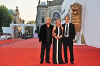 Director Ferzan Oezpetek, Isabella Ferrari and Valerio Mastandrea at the 65th Venice Film Festival.