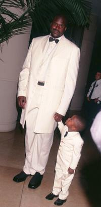 Shaquille O'Neal and his son at the Oscar De La Hoya Foundation's