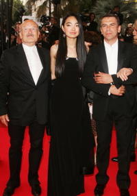 Director Volker Schloendorff, Ayanat Ksenbai and Philippe Torreton at the premiere of