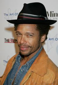 Gary Dourdan at the West Coast opening of works by artist Russell Young entitled fame shame and the realm of possibility.