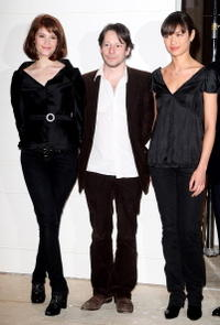 Gemma Arterton, Mathieu Amalric and Olga Kurylenko at the photocall to celebrate the start of production of