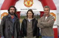 Eric Cantona, Daniel Bravo and David Ginola at the soccer schools entrance at Disneyland resort.