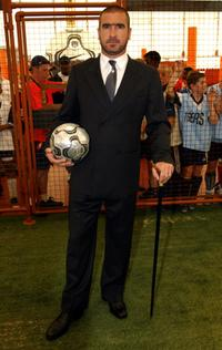 Eric Cantona at the launch of Nike's Scorpion Knockout soccer tournament.