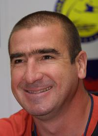 Eric Cantona at the press conference of The Kronenberg Cup beach football tournament.