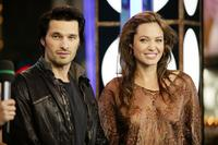 Olivier Martinez and Angelina Jolie at the MTV's Total Request Live.