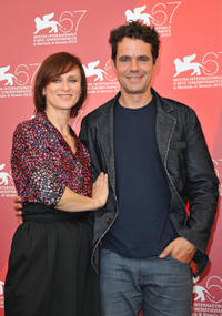 Sophie Rois and director Tom Tykwer at the photocall of