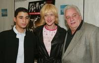 Vinny Vella Jr., Edie Falco and Vinny Vella at the premiere of