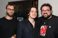 Scott Mosier, directors Edgar Wright and Kevin Smith at the opening night of